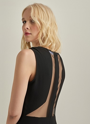 Ng Style Tül Detaylı Elbise Siyah